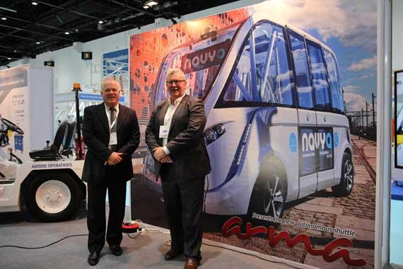 French company introduces Navya ARMA, a driverless shuttle, at the Airport Show 2016