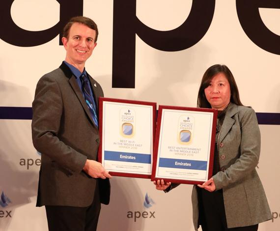 Emirates wins three Passenger Choice Awards at APEX Asia