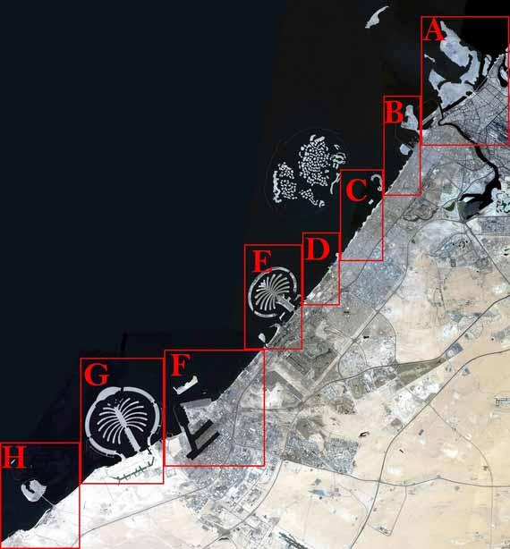 The Mohammed bin Rashid Space Centre monitors the changes Dubai coastline landscape witnessed between 2009 and 2015