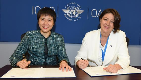 ICAO Secretary General Dr. Fang Liu and European Union Commissioner for Transport Ms. Violeta Bulc signed a Declaration of Intent renewing their partnership to address climate change  in Montreal today.
